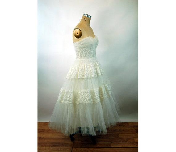 1950s wedding gown tea length strapless cupcake tulle wedding | Etsy