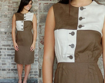 1960s dress, Harmay dress, Designer dress, color blocked dress, cafe au lait, brown cream, linen dress, Size M
