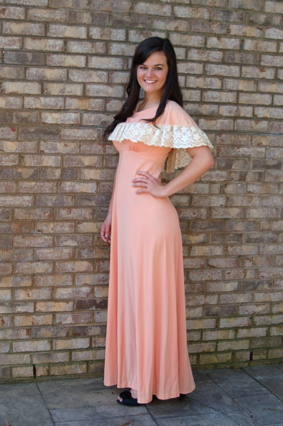 1960s maxi dress, off shoulder ruffle, peach cream