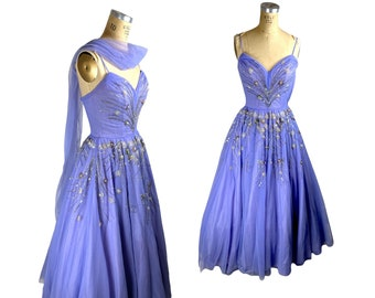 1950s tulle beaded gown lilac lavender silver Original by Miss America Size S