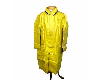 Vintage yellow raincoat rubberized slicker size XL XXL