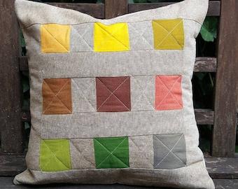 Handmade Modern Quilted Cotton Throw Pillow
