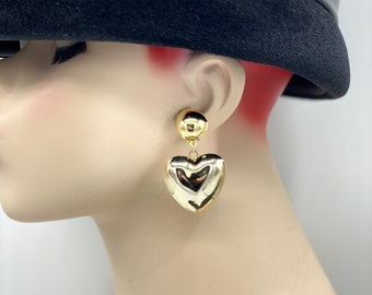 Earrings Silver Heart Puff Clip On Big Puffy Silver Tone  Heart Earrings Vintage Plated Clip Earrings