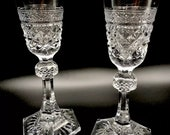 Vintage German Anna Hutte Bleikristall Clear Candle Taper Holders