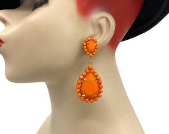 Gold Plated Orange Big Drop Earrings Bright Orange Metallic Gold Silver Splash Splatter Lever Back Hook Clip on Earrings