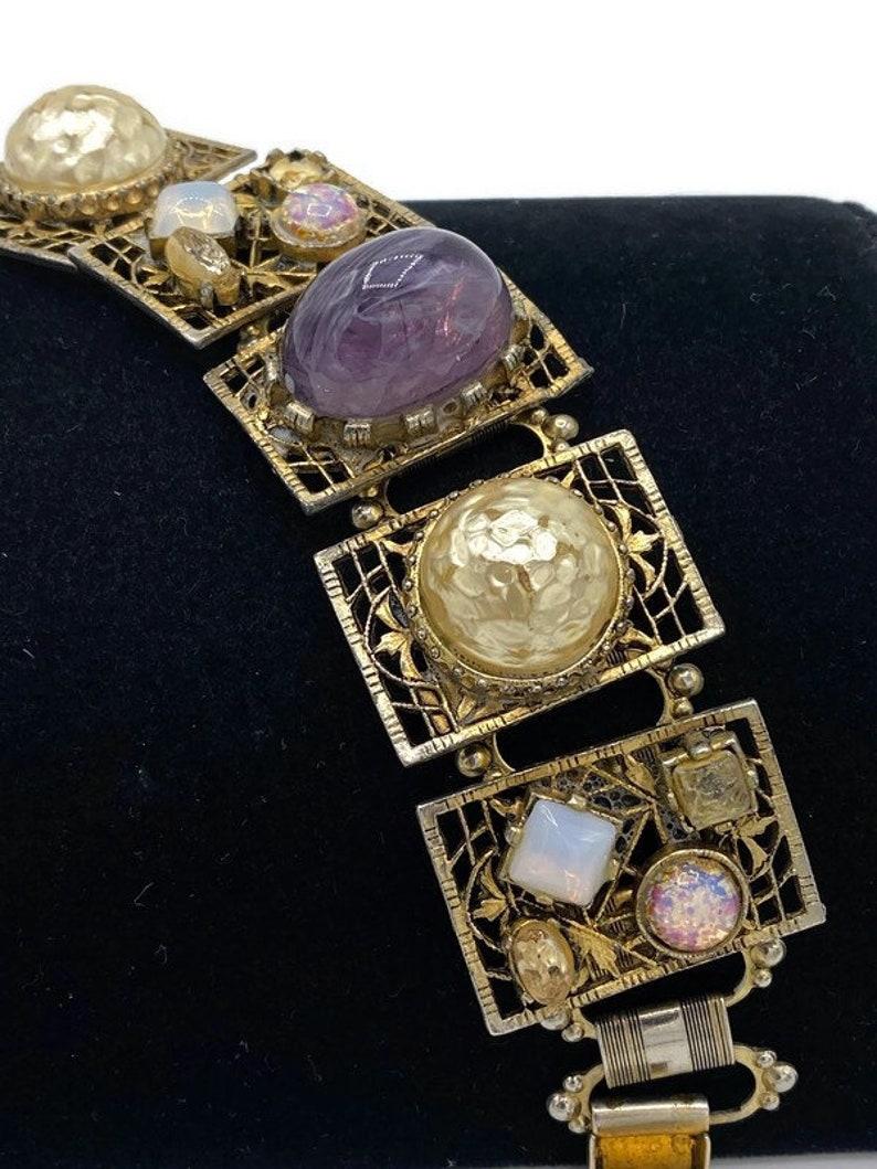 Vintage Chunky Polished Purple Amethyst Stone Faux Opal Pearl Cabochon Rhinestone Book Chain Link Bracelet