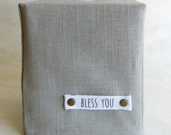 Bless You Tissue Box Cover, Linen, Natural