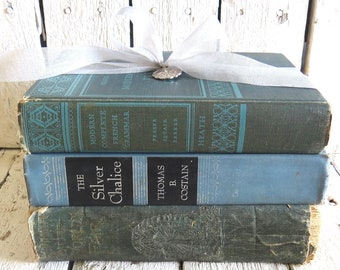 Vintage Books, Blue and Green Books, Old Blue Books, Decor Books, Antique Books, Home Office Decor, Instant Library, Rustic Farmhouse Books