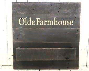 Storage Caddy, Farmhouse Wall Decor, Wall Shelf, Rustic Decor, Primitive, Cottage Style, Organization, Mudroom, Olde Farmhouse, Black Shelf