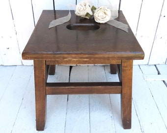 Rustic Farmhouse Vintage Stool, Wooden Utility Stool, Kitchen Stool, Bathroom Stool, Brown Step Stool,  Handle Hole Top, Plant Stand