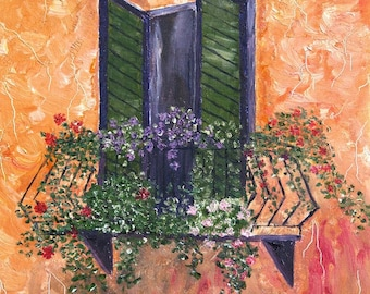 "Window Garden Art, Tuscany Art, Balcony Art, Green Shutters, Cottage Art, Italy, Europe- Giclee Print of Fine Art Oil Painting- ""Tuscany II"""