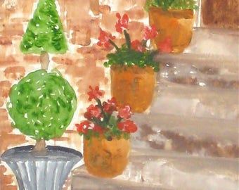 "Cottage Art, Topiary Art, Geranium Red Flower Painting, Garden Art, Landscape Art- Giclee Print of Fine Art Watercolor Painting-""Topiary"""