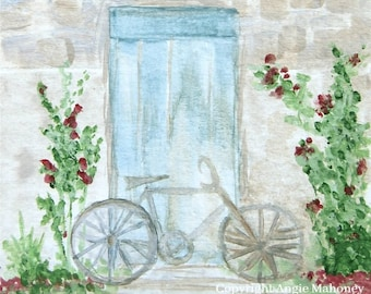 "Bicycle Art, Cottage Farmhouse Art, French Art, Blue Door Art, Country Cottage- Giclee Print of Fine Art Watercolor Painting- ""Bicycle"""