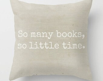 Book Lover Pillow, Author Writer Gift, Home Office Library Pillow, Avid Reader Gift, Farmhouse Accent Pillow, Square Beige Throw Pillow