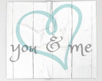 Romantic Soft Throw Blanket, You & Me Love Gift, White Blanket, Inspirational Quote Blanket, Fleece Blanket, Soft Blanket, Wedding Gift