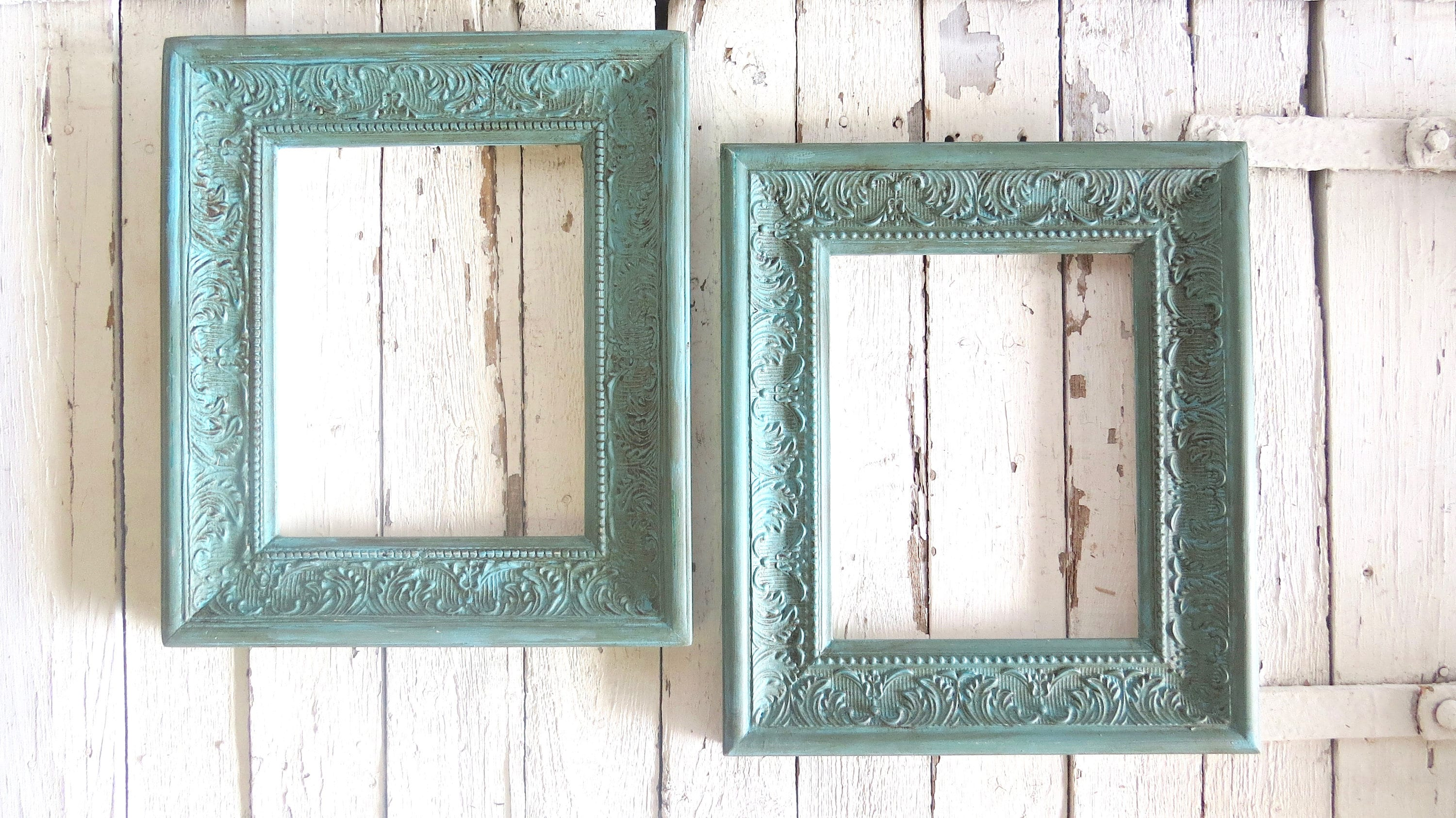 French Country Frames, Vintage Inspired Frames, Painted Aqua Frames ...