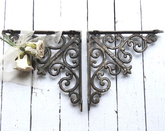 Rustic Black Shelf Brackets, French Country Farmhouse Decor, Fixer Upper Decor, Ornate Wall Door Brackets, Weathered Architectural Detail