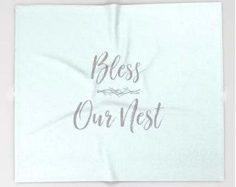 Soft Throw Blanket, Bless Our Nest, Aqua Blanket, Inspirational Quote Blanket, Fleece Soft Blanket, Housewarming Gift, Blue Bedding Throw