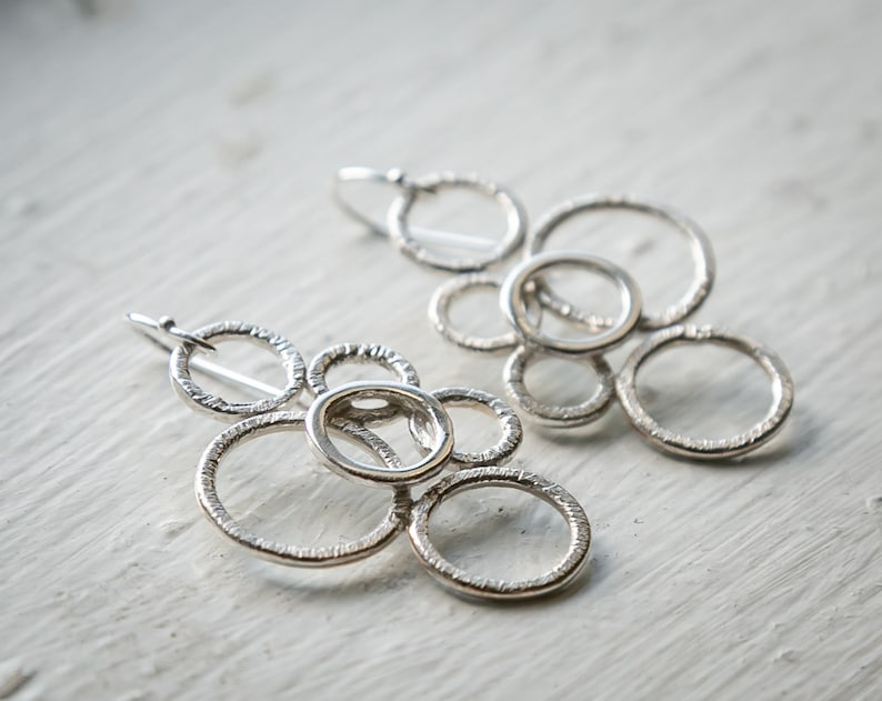 Notched Sterling silver multi-circle earrings