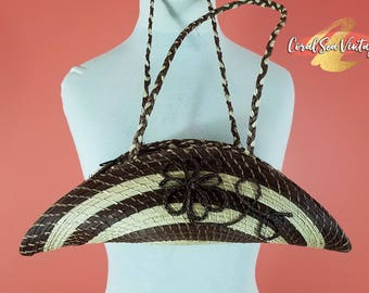 Festival Bag Vintage Boho Straw Purse, Palm Leaf Bag, Bohemian Basket, Woven Purse, Summer Basket Purse