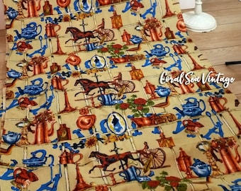 9 YARDS Kitschy Fabric Antique Brass Weather Vane American Eagle Cameo Vintage Novelty Fabric, Matching Sets Vintage Pattern Skirts Aprons