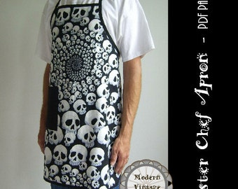 PDF Sewing Pattern and Tutorial Men's Full Apron in 3 Sizes  - The MASTER CHEF #105