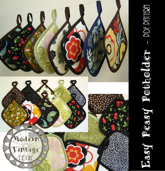 PDF Pattern and Tutorial  The EASY PEASY Potholder  Instant