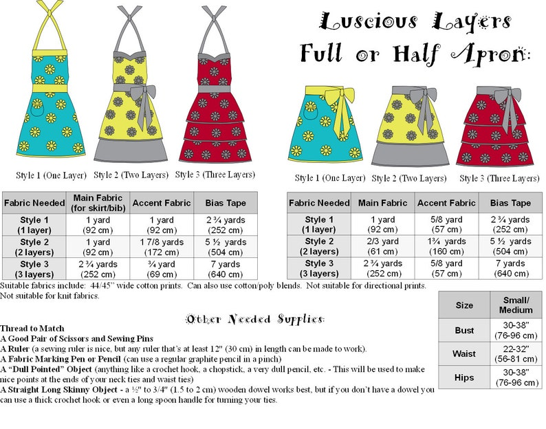 Vintage Aprons, Retro Aprons, Old Fashioned Aprons & Patterns Apron Pattern PDF Womens Full and Half - The LUSCIOUS LAYERS - Instant Download #120 $8.00 AT vintagedancer.com