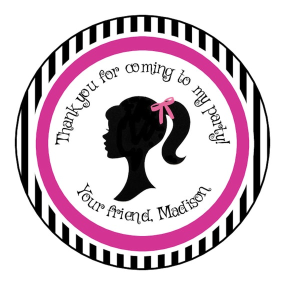 """12 Barbie Group 2.5/"""" Square Sticker Label for Bag Treat Box Party Favor Birthday"""