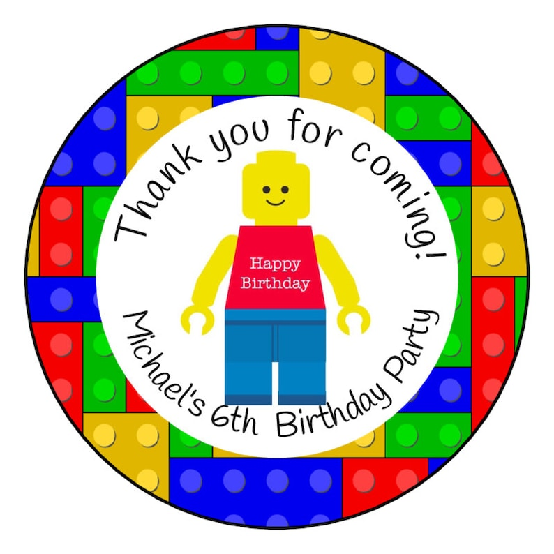 Lego Birthday Party, Lego Bricks, Lego man, Thank you label 2 5inch , Boy  Birthday, Personalized, treat box, goody bag, Set of 36