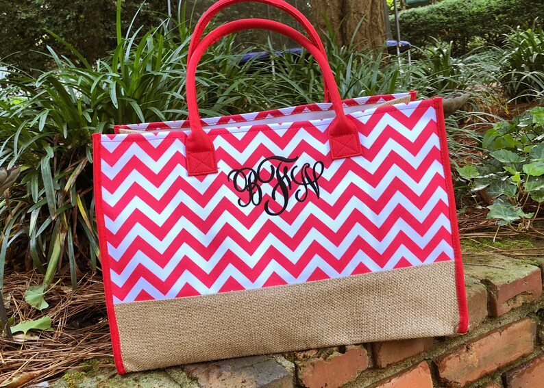Shoulder Bag Purse Monogrammed Teacher Tote Bag Canvas and Burlap Beach Bag Personalized Tote Bag
