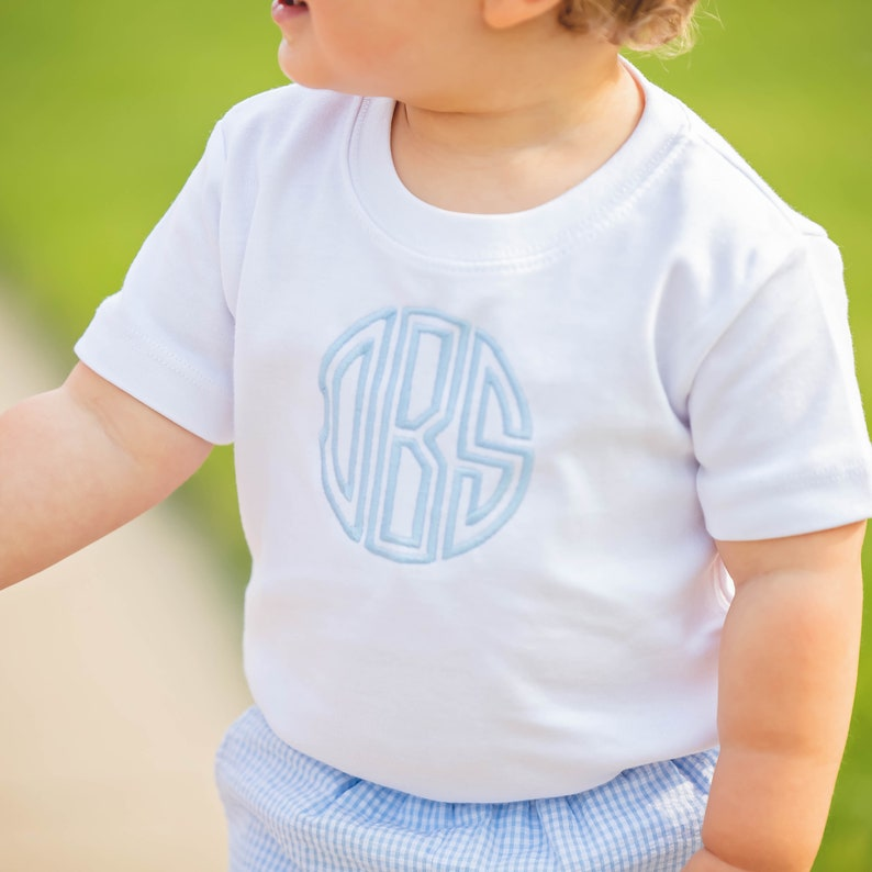 Boys Circle Monogram Shirt, Personalized Tee for Toddler Boy, Monogrammed  White T Shirt, First Day of Preschool Outfit, SSC