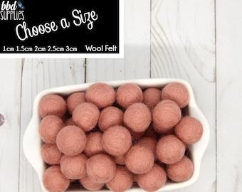 Wool Felt Balls | Blushing Bride Pink | You choose size | Felt Pom Poms| Felt Beads | Felt Garland | DIY