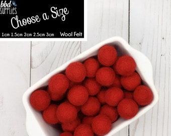 Wool Felt Balls | Red | You choose size | Felt Pom Poms| Felt Beads | Felt Garland | DIY