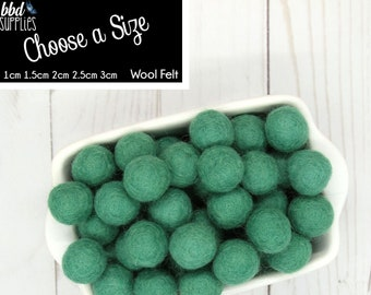 Wool Felt Balls | Blue Spruce Green | You choose size | Felt Pom Poms| Felt Beads | Felt Garland | DIY