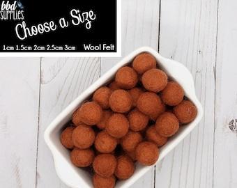 Wool Felt Balls | Copper | You choose size | Felt Pom Poms| Felt Beads | Felt Garland | DIY