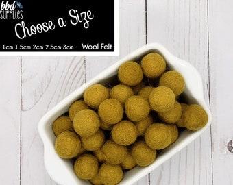 Wool Felt Balls | Honey Mustard | You choose size | Felt Pom Poms| Felt Beads | Felt Garland | DIY