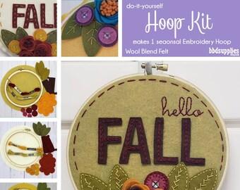 Wool Blend Felt Flowers | DIY Fall Felt and Embroidery Hoop Kit | Makes 1 Hoop | 3 Different Varieties