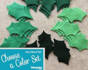 Wool Blend Felt Leaves | 36 Large Holly Leaves  | Pick a Color Set | DIY  | 3 Shapes