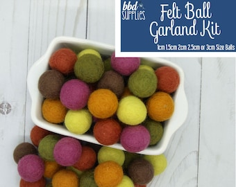 Wool Felt Balls Garland Kit | Autumn Splendor | You choose size | Fall Colors | 60 Felt Pom Poms | Felt Beads | DIY