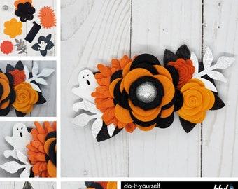 Wool Blend Felt Flowers | Felt Flower Ghost Halloween Headband Kit | Makes 1 Floral Crown | DIY