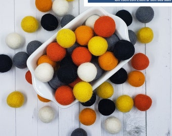 Wool Felt Balls Garland Kit | Trick or Treat | You choose size | Halloween Colors | 60 Felt Pom Poms | Felt Beads | DIY
