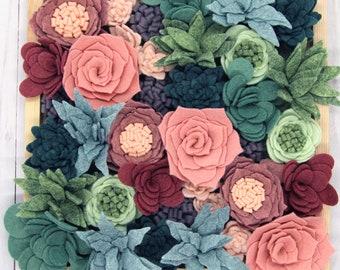 Felt Succulents Kit | 37 Wool Felt Flowers | Adult Craft Kit | DIY Artificial Succulents