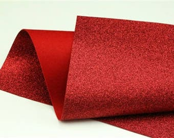 Red Glitter - Glitter Wool Felt Sheets - You choose size