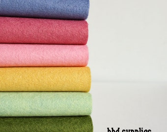 Wool Blend Felt Sheets Collection | Wool Garden Colors | 6 sheets | You choose size