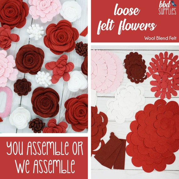 DIY or We Assemble for you Tutorial Makes 24 Wool Blend Felt Flowers Loose Felt Flowers Stormy Weather Rose Flower Collection