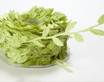 Leaf Satin Ribbon - Parrot Green - 1 inch  - You Choose Yards