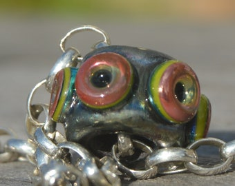 Coring Available - Unique Handmade Lampwork Glass European Charm Bead with Reactive Silver Glasses - SRA - Fits all charm bracelets