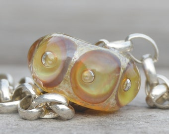 Coring Available - Unique Handmade Lampwork Glass European Charm Bead with Reactive Silver Glass - SRA - Fits all charm bracelets