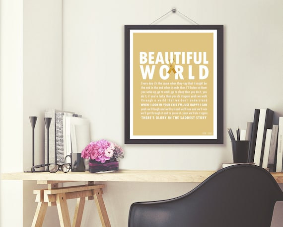 Child Cancer Awareness | Child Cancer Gift | Caregiver Gift | Bon Jovi |  Beautiful World | Song Poster | Digital Image